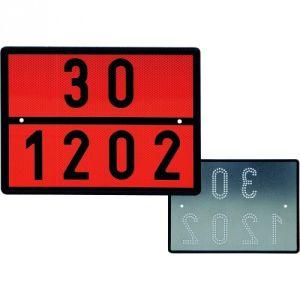 Warntafel für Dieselkraftstoff / Heizöl mit ausgestanztem Lochbild, reflektierend Typ 3