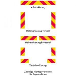 Heckmarkierung für Zugmaschinen, bauartgeprüft - Satz Halbmarkierung