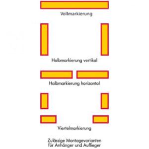 Heckmarkierung für Anhänger und Auflieger, bauartgeprüft - Satz Viertelmarkierung