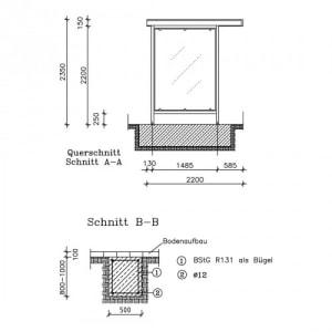 Überdachung Modell Leipzig, L 14 (einseitig) - Baukastensystem