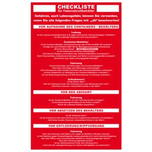 Checkliste für Hakenabrollcontainer