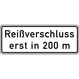 Zusatzschild Reißverschluss erst in 200 m VZ 1005-30