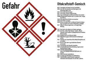 Gefahrstoffkennzeichnung für Benzinkanister - Ottokraftstoff Gemisch gemäß GHS