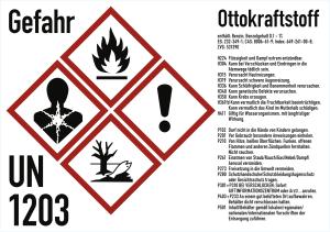 Gefahrstoffkennzeichnung für Benzinkanister - Ottokraftstoff gemäß GHS