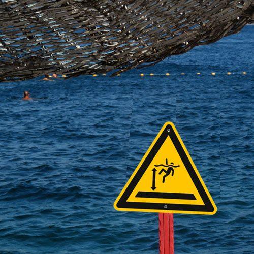 Aufkleber Warnzeichen Sicherheitszeichen Warnung vor tiefem Wasser ASR ISO