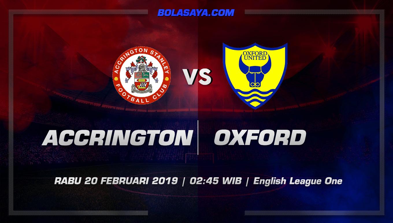Prediksi Taruhan Bola Accrington Stanley vs Oxford United 20 Februari 2019