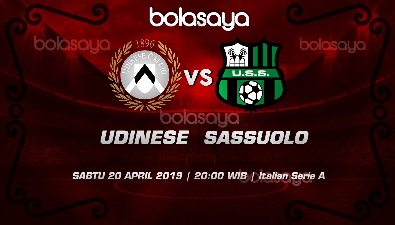 Prediksi Taruhan Bola Udinese vs Sassuolo 20 April 2019