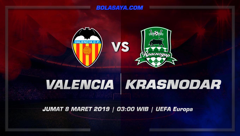 Prediksi Taruhan Bola Valencia vs Krasnodar 8 Maret 2019