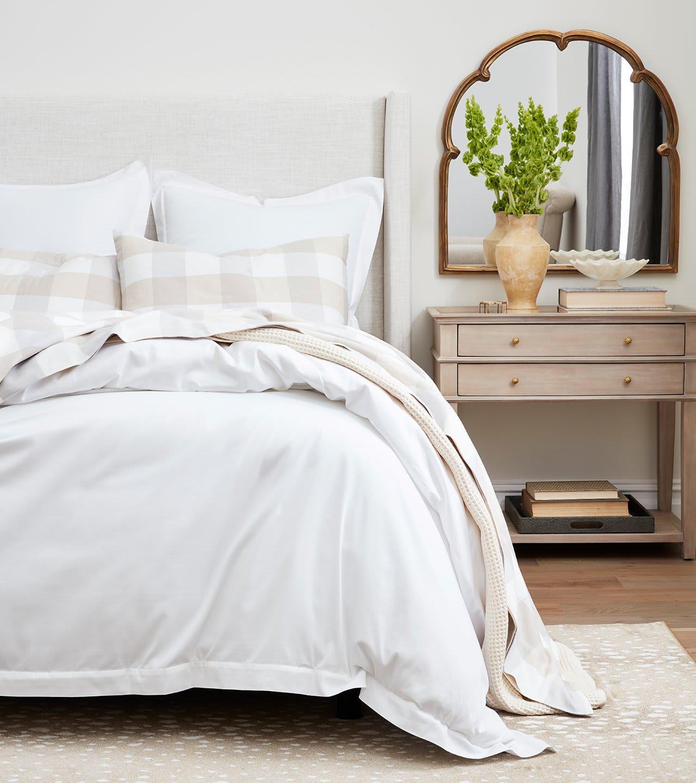 Pewter/Dune Buffalo Sheet Set on Bed