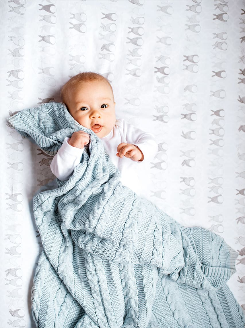 Boll & Branch baby with blanket