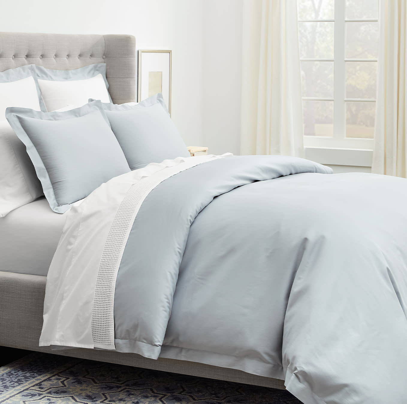 Boll & Branch Duvet set in the beautiful peaceful blue color: shore. #duvet #coastal #lightblue #beachybedding