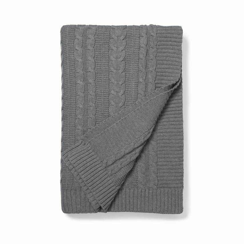 Cable Knit Throw Blanket heathered grey variant image
