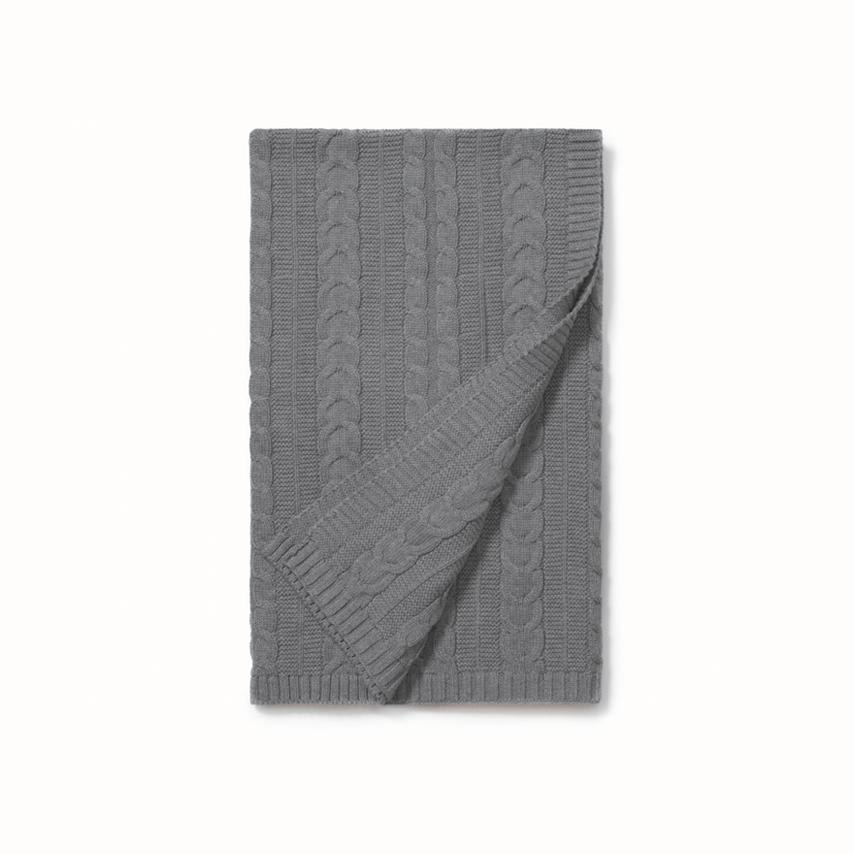Cable Knit Baby Blanket heathered grey variant image
