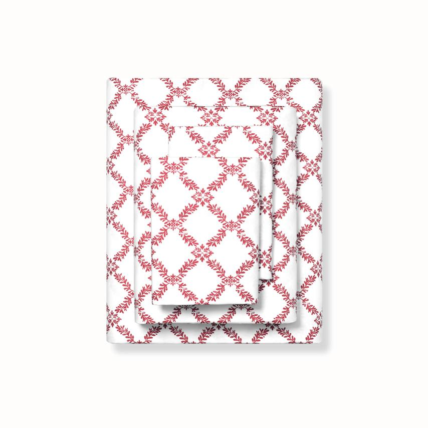 Classic Hemmed Sheet Set red trellis variant image