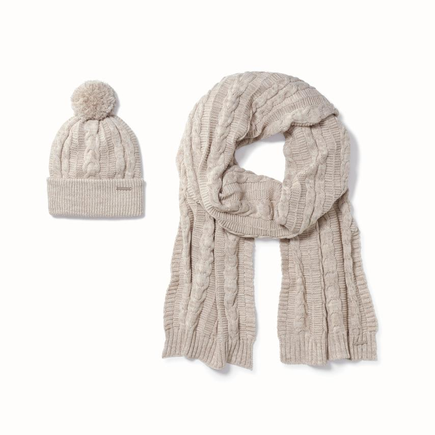 Cable Knit Hat & Scarf Set heathered oatmeal variant image