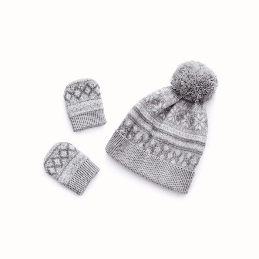 Fair Isle Baby Hat & Mitten Set heathered grey fair isle variant image