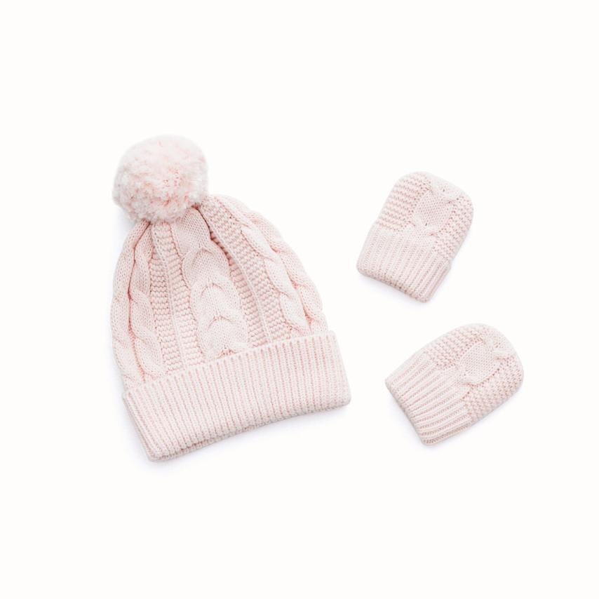 Cable Knit Baby Hat & Mitten Set petal variant image