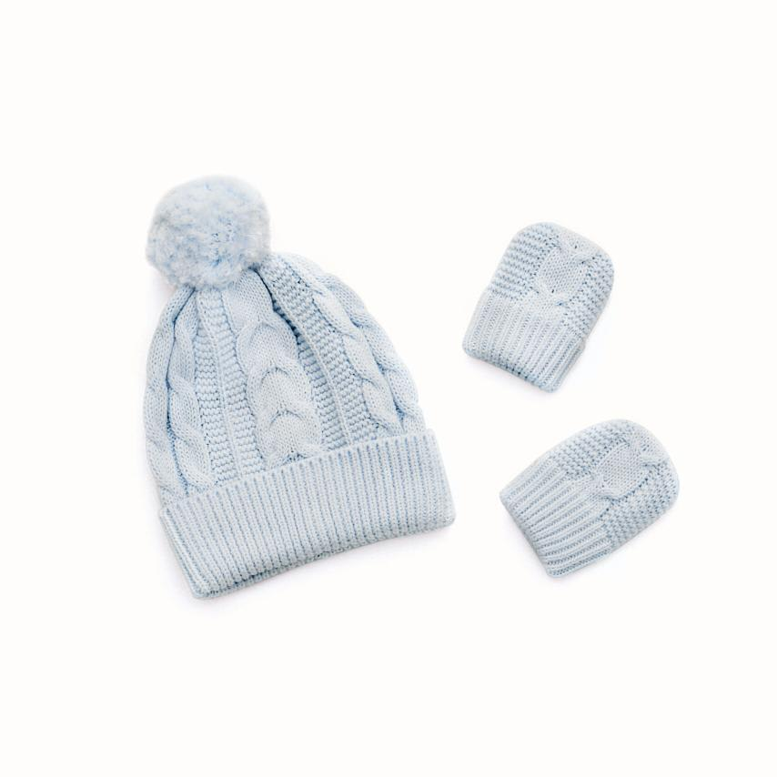 Cable Knit Baby Hat & Mitten Set sky variant image