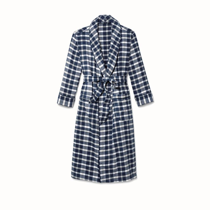Men's Flannel Robe navy traditional plaid variant image