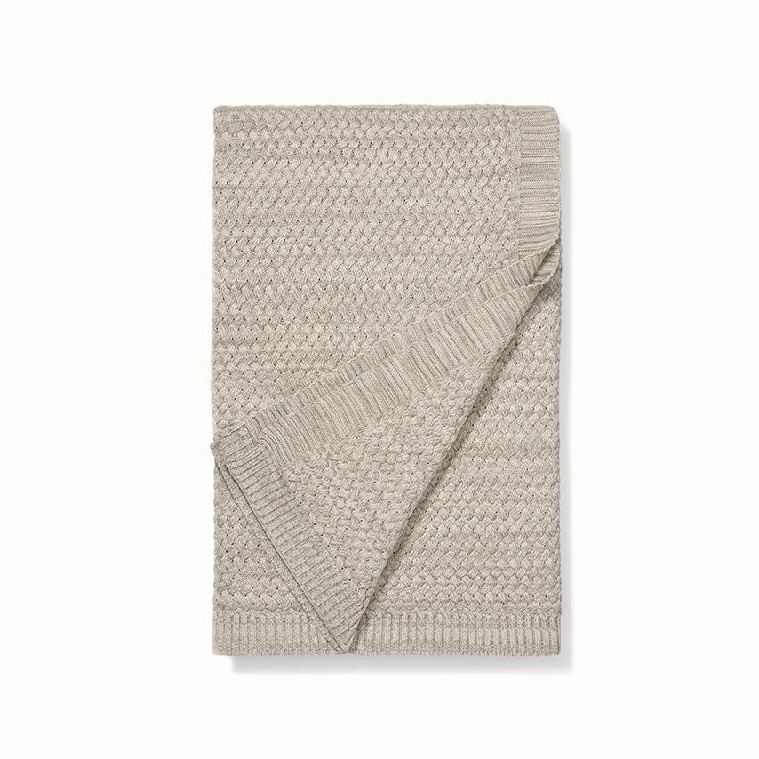 Chunky Knit Throw Blanket heathered oatmeal variant image