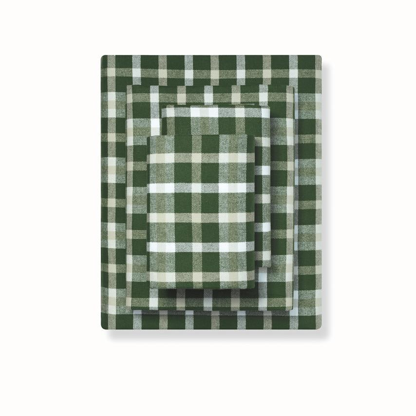 Flannel Sheet Set forest green traditional plaid variant image