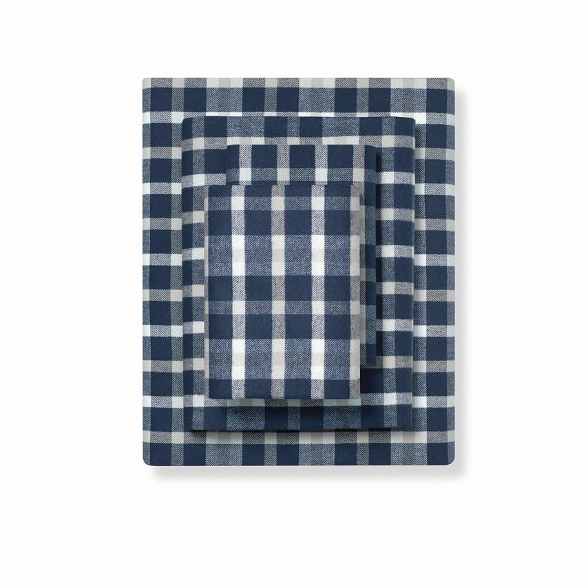 Flannel Sheet Set navy traditional plaid variant image