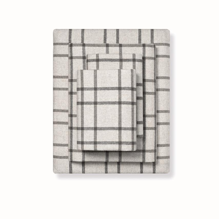 Flannel Sheet Set limited edition oatmeal windowpane variant image