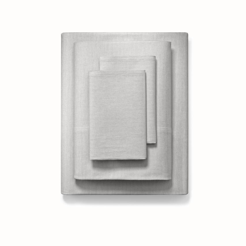 Flannel Sheet Set pewter herringbone variant image