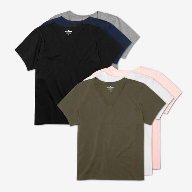 82547f267a24 Women's Pima Cotton V-Neck T-Shirt 6-Pack