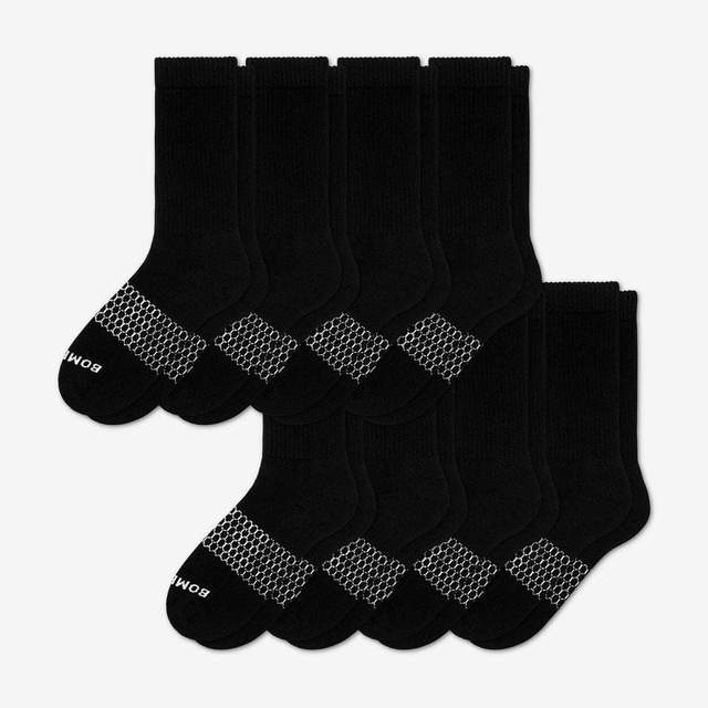 black Men's Calf Sock 8-Pack