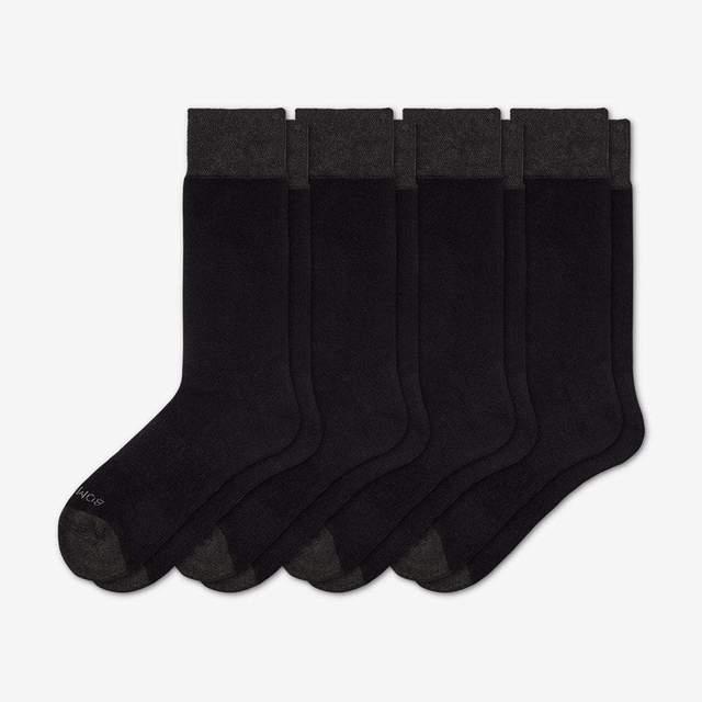 black Men's Dress Over the Calf Solid Sock 4-Pack