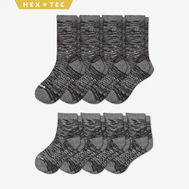 black Women's Hiking Calf & Quarter Sock 8-Pack