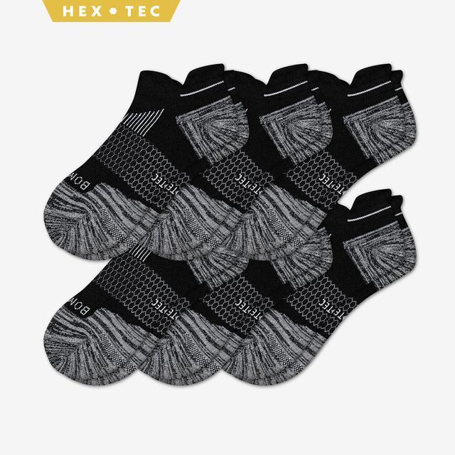 black Men's Performance Running Ankle Sock 6-Pack