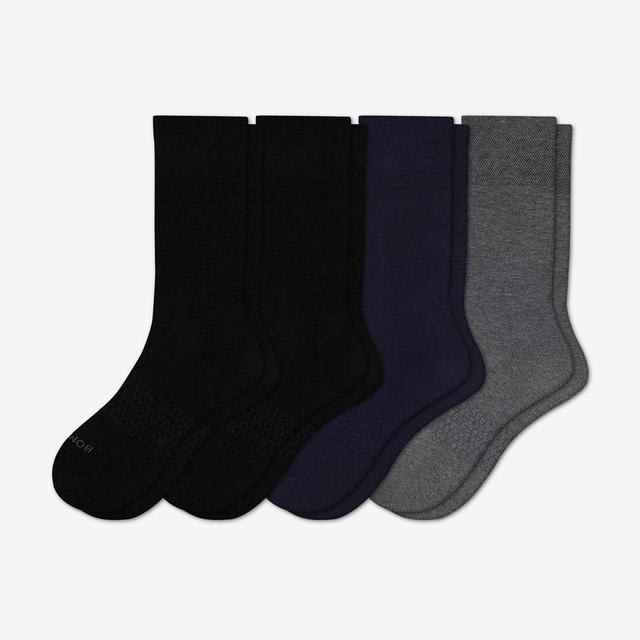 black-navy-charcoal Men's Dress Calf Sock 4-Pack