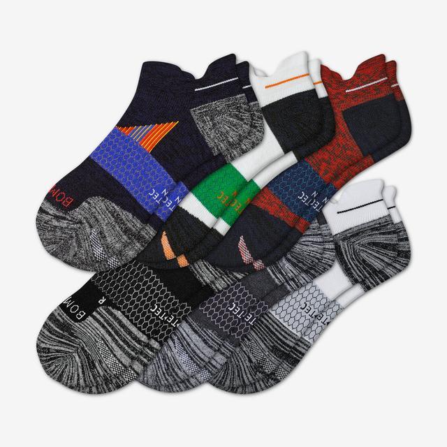 black-red-mix Men's Performance Running Ankle Sock 6-Pack