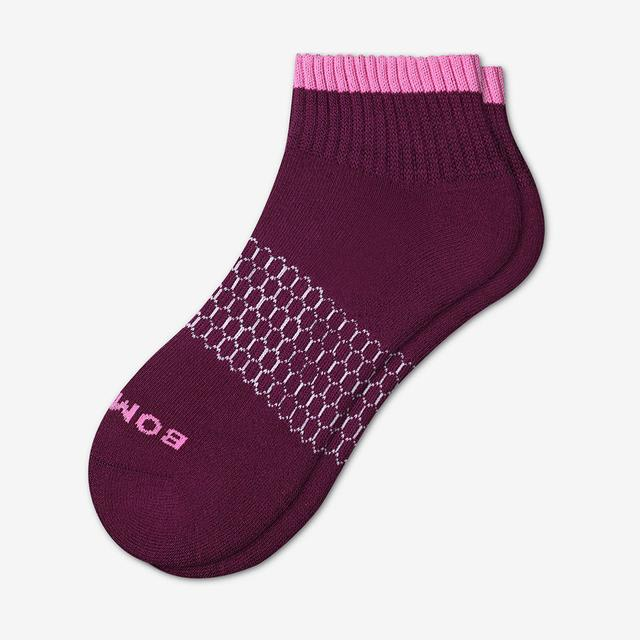 blackberry Women's Solid Neon Tipping Quarter Socks