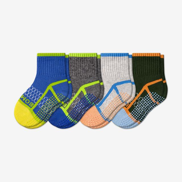blue-green-grey-mix Toddler Gripper Calf Sock 4-Pack