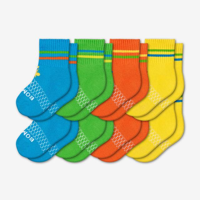 blue-green-orange-yellow Toddler Bright Calf Sock 8-Pack