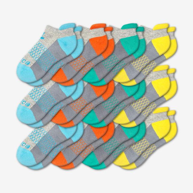 blue-orange-teal-yellow Youth Ankle 12-Pack
