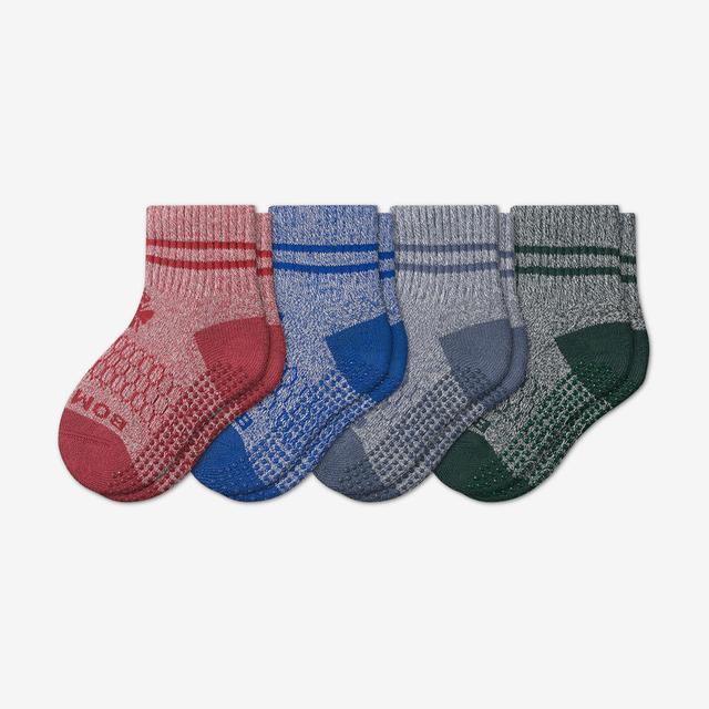 blue-red-green-mix Toddler Gripper Calf Sock 4-Pack