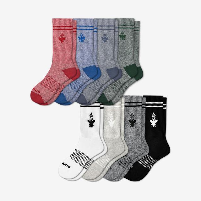blue-red-green-mix Men's Calf Sock 8-Pack