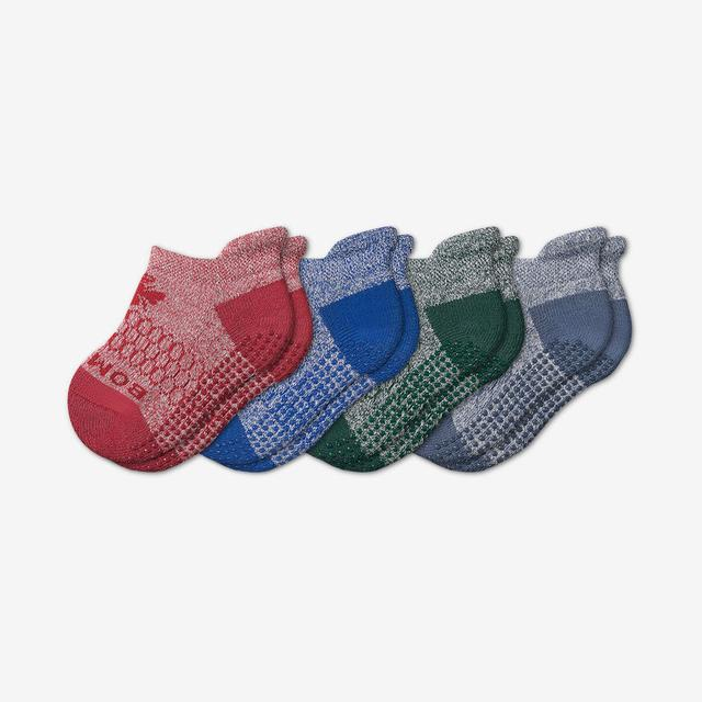 blue-red-green-mix Toddler Ankle Gripper Sock 4-Pack