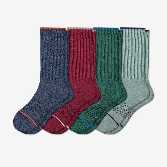 blue-red-mix Men's Merino Wool Calf Sock 4-Pack