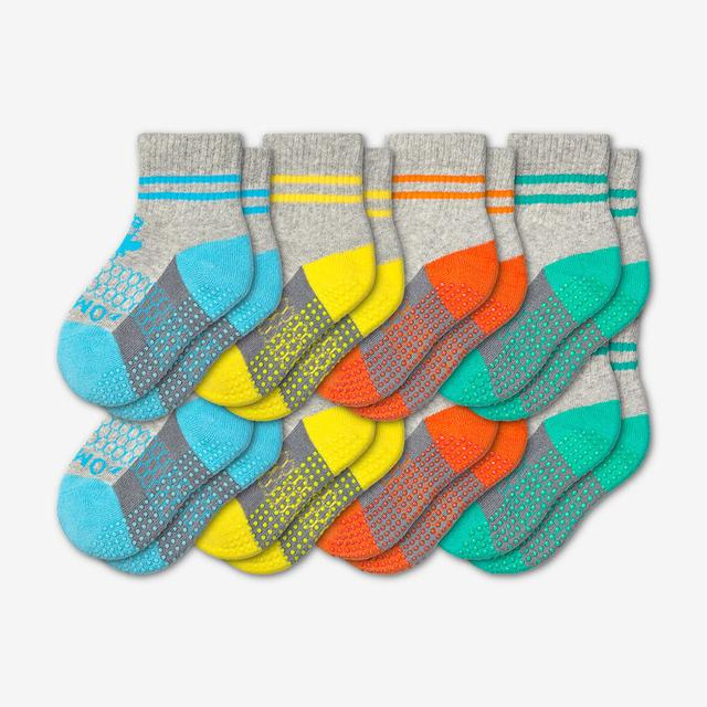 blue-yellow-orange-teal Toddler Gripper Calf Sock 8-Pack