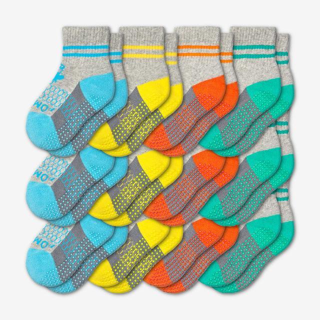 blue-yellow-orange-teal Toddler Gripper Calf Sock 12-Pack