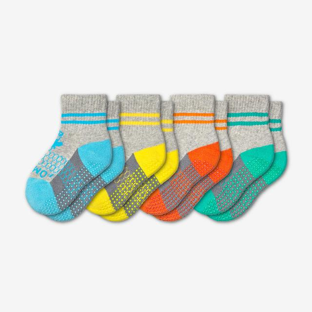 blue-yellow-orange-teal Toddler Gripper Calf Sock 4-Pack