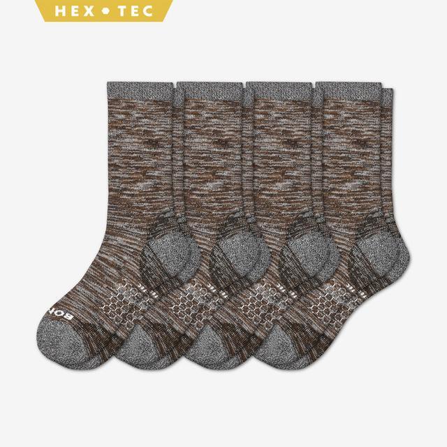 brown Men's Hiking Calf Sock 4-Pack