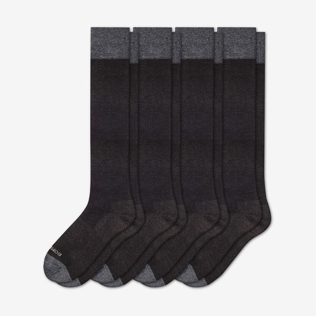 charcoal Men's Dress Over the Calf Solid Sock 4-Pack