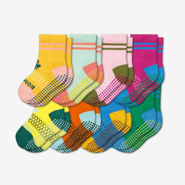 color-block-multi Toddler Gripper Calf Sock 8-Pack