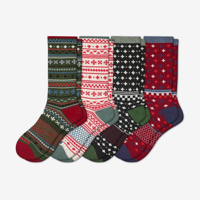 elm-soft-white-mix Women's Holiday Calf Sock 4-Pack